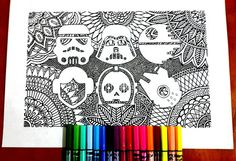 Star Wars fan Colouring Page for grown ups, perfect for those who like coloring pages and more complex work with many colors. Its color therapy!