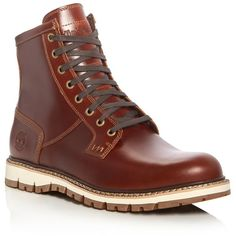 Timberland Britton Hill Lace Up Boots ($200) ❤ liked on Polyvore featuring men's fashion, men's shoes, men's boots, medium brown, mens brown leather shoes, timberland mens shoes, mens lace up shoes, timberland mens boots and mens leather lace up boots