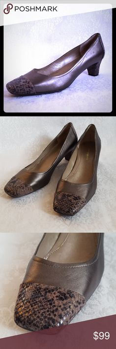 """🔥DISC SHIP🔥Taupe Metallic Pumps w Snakeskin Toes Classic style with a classy but yet fun metallic & snakeskin element to add a stylish flair & a twist.   Easy Spirit metallic taupe leather pumps with 2"""".  Taupe, brown & black snakeskin toes & heels.  Style is """"QUINLAN"""". Cushioned insole.  Excellent used condition. Smoke free and pet free home.  Check out my other listings - 100's of 👠shoes👠, 👢boots👢 and 👜bags👜. Bundle 2 or more and save money!💲💰💲 Easy Spirit Shoes Heels"""