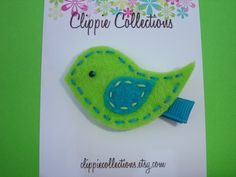 Lovey dovey clippie bird felt hair clip by clippiecollections