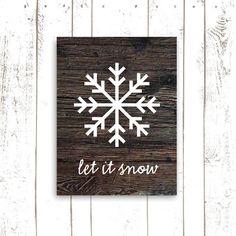 Snowflake Art, Christmas Decor, Wood Art Print, Christmas Sign, Let It Snow on Etsy, $18.00