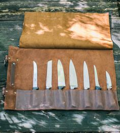 Leather Knife Roll | For the organized, traveling chef, may we suggest this leather... | Knife Blocks & Holders