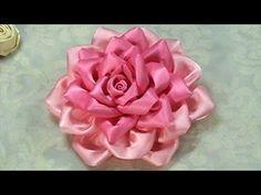 Moños de flores kanzashi en cinta de raso. hair accessories. No.097 - YouTube