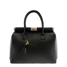 Black Leather Gold Tone Trim Handbag