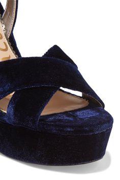 Sam Edelman - Mara Velvet Platform Sandals - Indigo - US10.5