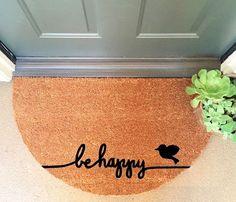 Be Happy Doormat Coir Funny Doormat / Welcome by InspireLifeToday