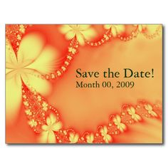 Orange Floral Jewel, Save the Date! Postcards