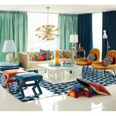 The joy of color. Mix classical pieces with bold modernism. People who are afraid of color are afraid of life.