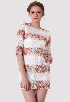 White Whole Crochet Floral Shift Dress - would be so cute with dark skinny jeans and boots!