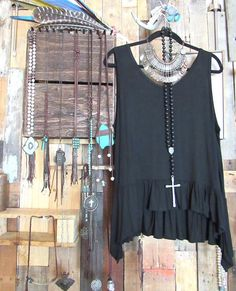 This black tank will go with everything this spring! #springcollection #poeticnuance #jewelry #clothes #fashion #style #gypsy #boho
