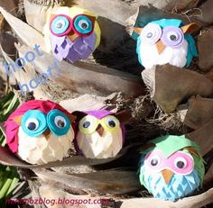 These felt owls are the best little round owl plush pattern I have seen around!  They could easily replace the Angry Birds if you made sure your seams are strong!  Make an Owl plush using this owl pattern with googly eyes too!   Look closely at the photo for more inspiration– I see ears, a little toupe, and the mix of colors is wonderful!  Use your imaginatio