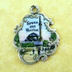Antique Silver Art Nouveau Souvenir European Travel Charm Enamel Mostar Bosnia   eBay