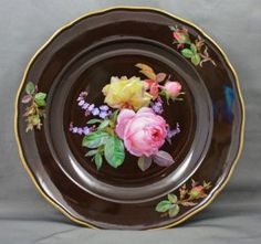 Meissen Porcelain Braunsdorf Style Cabinet Plate with Roses