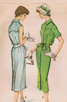 1950s McCall's 4515 Vintage Sewing Pattern Misses' Dress with Monogram Size 14 Bust 34