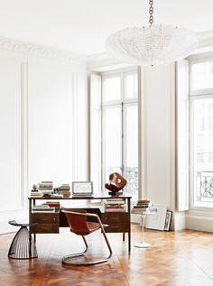 Home office in gorgeous and inspiring Parisian apartment. http://abkasha.com