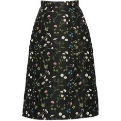Giuseppe Di Morabito     Floral Jacquard A-Line Skirt ($395) ❤ liked on Polyvore featuring skirts, bottoms, black, floral printed skirt, high rise skirts, high-waist skirt, floral print skirt and floral skirt