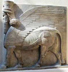 Winged human-headed bull  Neo-Assyrian Period, reign of Sargon II (721-705 BC)  Khorsabad, ancient Dur Sharrukin, Assyria, Iraq  High relief and sculpture in the round; gypseous alabaster  Louvre Museum