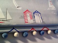 Made to measure roman blind in Beach huts grey by KinseyandCo