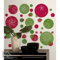 RoomMates Festive Dots Peel & Stick Wall Decals - to deal websites Polka Dot Walls, Polka Dot Wall Decals, Christmas Tree Quotes, All Things Christmas, Green Wall Stickers, Do It Yourself Design, Christmas Destinations, Living Room Themes, Pretty Kids