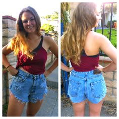 nifty thrifty goodwill: DIY how to high waisted shorts