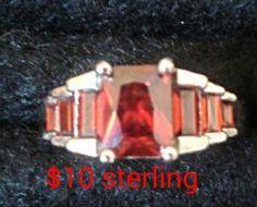 Garnet Multi-Stone Ring 925 Stamped Sized 9 by OhSnapJewels on Etsy Garnet, Stamp, Rings, Silver, Etsy, Jewelry, Grenada, Jewlery, Money