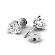 DGLA Certified Diamond Earring Round Brilliant Cut Three Claw Set Studs Earring