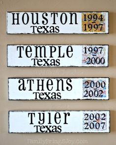 Cute way to keep track of places that you have lived together. I think I might make this for our anniversary.