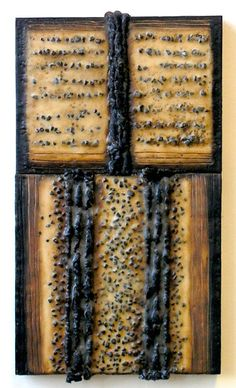 """Nancy Natale ... Iconic Books: Bound Memory  2009  Encaustic with rope, gravel, oilstick, oil paint on two joined birch panels  21""""H x 12""""W x 1.75""""D  Image 15 of 19"""