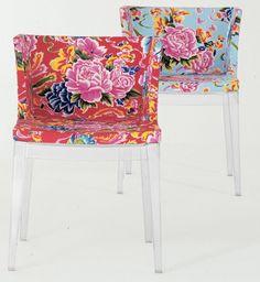 Kartell Mademoiselle Armchairs - beautiful fabrics elegant lucite legs - love them!
