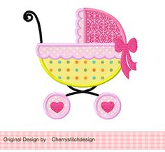 Baby Carriage Applique 4x4 5x7 6x10-Machine por CherryStitchDesign