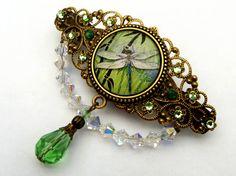 Edle Libellen Haarspange in grün bronze Antik Stil von Schmucktruhe
