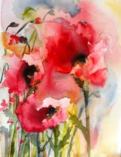 Pink Watercolor Art - Summer Poppies Wall Art by Karin Johannesson from Great BIG Canvas. : Pink Watercolor Art - Summer Poppies Wall Art by Karin Johannesson from Great BIG Canvas. Watercolor Poppies, Watercolor Paintings, Poppies Art, Watercolors, Art Paintings, Painting Abstract, Red Poppies, Canvas Art Prints, Painting Prints