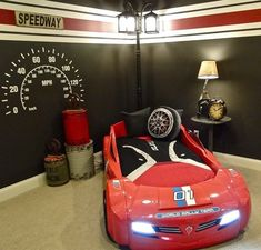 For your little race car fan!Credit to Macara Carsley #decorforkids... - Home Decor For Kids And Interior Design Ideas for Children, Toddler Room Ideas For Boys And Girls