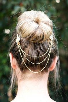 Gold Bun Chain with Stone Detail South African Shop, Band Aid, Hair Band, Bobby Pins, Shops, Hair Accessories, Jewels, Chain, Detail