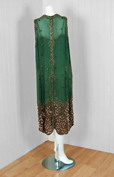 1920's Sage-Green Beaded Chiffon & Metallic Lace Flapper Dress   From a collection of rare vintage evening dresses at http://www.1stdibs.com/fashion/clothing/evening-dresses/