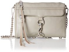 """Rebecca Minkoff Mini MAC Convertible Cross-Body Handbag,Soft Grey,One Size. A petite take on your favorite M.A.C. (Morning After Clutch) that's a little too cute for words! With just enough space to stash your must-haves (lipgloss, cell phone, wallet, keys, and sunglasses) this compact style goes from daytime fun to evening with flair. Adjustable chain strap can be singled, doubled, or removed.P Please see images on how to double your strap. 9"""" wide x 1.5"""" deep x 6.5"""" tall Adjustable…"""