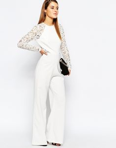Image 2 ofJohn Zack Petite Lace Sleeve And Back Detail Jumpsuit