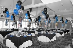 Blue And Black Party Decorations-Parties are of swing types and due to their diversified nature, substitute types of decorations are required. Black And White Party Decorations, Silver Party Decorations, Party Centerpieces, Birthday Decorations, Centerpiece Ideas, Wedding Decoration, Christmas Decorations, 70th Birthday Parties, Blue Birthday