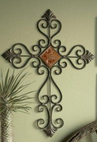 Rustic Iron Wall Cross with Plaque