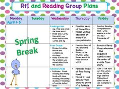 Peek At My Week- RTI & Reading Groups  Lesson Planning