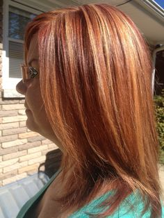Copper red blonde hair