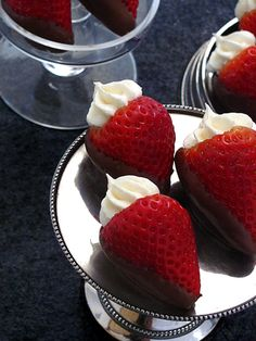 *Cheesecake* filled chocolate-covered strawberries.