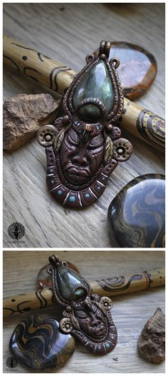Polymer clay pendant with ancient Maya theme #fantasy #mayan #face #magic #magical  #labradorite #glassbeads #polymerclay #jewelry #handmade #ooak #unique #pendant #sculpture #gemstone #polymerclay