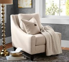 Aiden Upholstered Armchair #potterybarn in sunbrella performance sahara weave charcoal $999