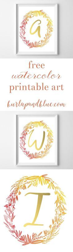 free watercolor wreath initial printable art. perfect to add a touch of fall decor to your home! In shades of gold, orange, red and yellow.