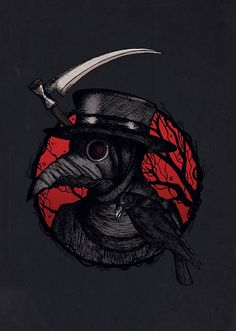 Plague Doctor Black and Red Illustration Steampunk Raven