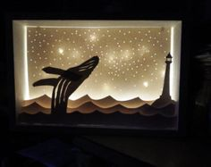 Hand cut paper diorama light box with original moose and mountains design in a 9 x 6 wooden box.  Light box is wall mountable.  Diorama is back lit