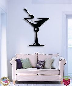 Wall Sticker Drink Glass Of Martini Great Decor For Bar Or Kitchen z1505