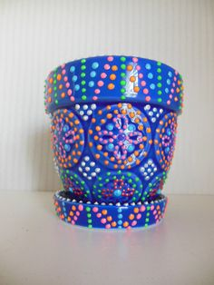 Blue Hand Painted Flower Pot