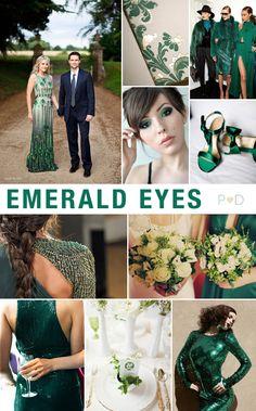 Emerald Eyes Mood Board, Inspiration, Bridal, Wedding, Green, Jewel tones, Pocketful of Dreams Top left dress Ceremony or reception  Shock every one
